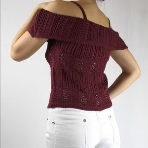 NWT Chelsea & Violet Knit Burgundy Open Top Size S